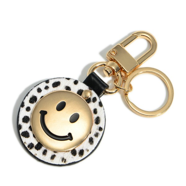 """Animal Print Smiley Face Keychain Featuring Keyring.   - Clip to Purses or Backpacks - Approximately 1.5"""" in Diameter"""