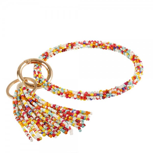 """Multicolor Beaded Key Ring Bangle Wristlet.  - Holds Keys - Can Wear on Wrist, Attach to Bags or Purses - 3.5"""" in Diameter - Tassel Accent"""