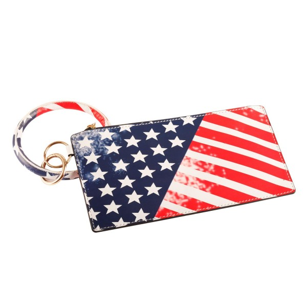 """Distressed Faux Leather Patriotic Wallet with Attached Keyring.   - Approximately 8"""" L x 4"""" T"""