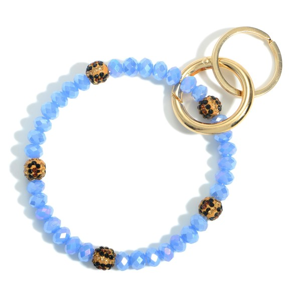 """Beaded Key Ring Featuring Leopard Print Accents.   - Holds Keys - Can Wear on Wrist, Attach to Bags or Purses - 3.5"""" in Diameter"""