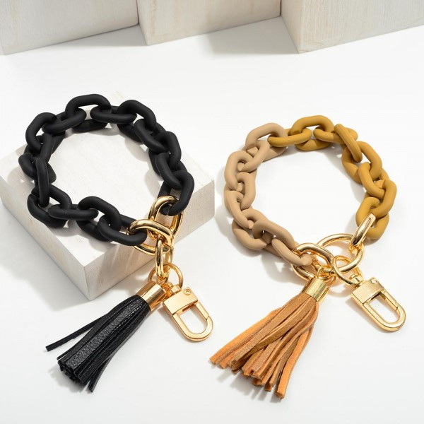 """Matte Chain Link Keychain Featuring Tassel.  - Holds Keys - Can Wear on Wrist, Attach to Bags or Purses - Approximately 3.5"""" in Diameter"""