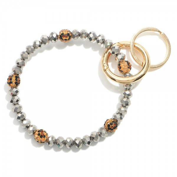 """Beaded Keychain with Rhinestone Accent Beads.  - Holds Keys - Can Wear on Wrist, Attach to Bags or Purses - Approximately 3"""" in Diameter"""
