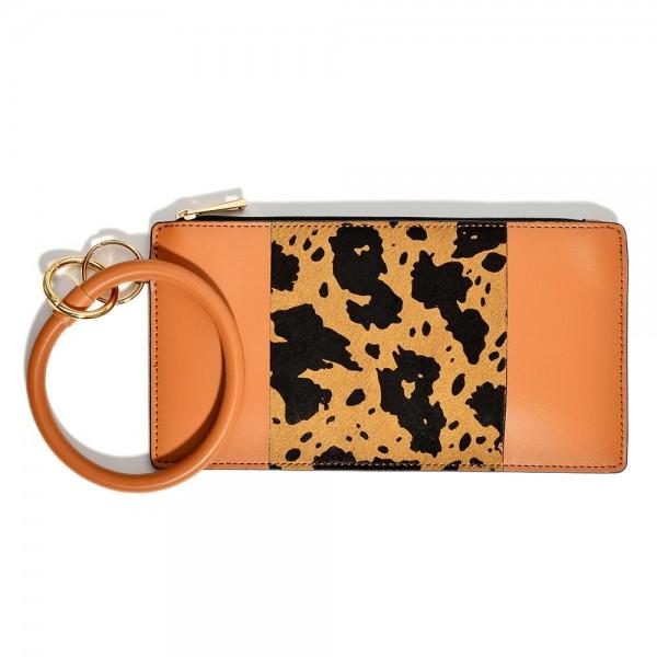 "Faux Leather Cow Print Wristlet Wallet.  - Approximately 8"" W x 4"" L"