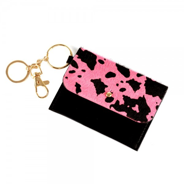 """Faux Leather Cow Print ID/Card Holder Key Chain.  - Single Pocket - Detachable Key Ring - Approximately 4"""" x 3"""""""