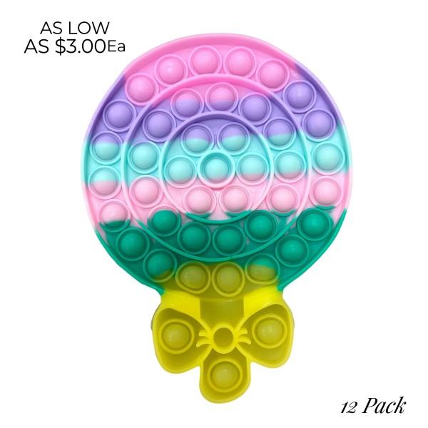 """Multicolor Lollipop Fidget Pop Toy.   - Ages 3+ - As Seen On TikTok - """"It's Like Bubble Wrap That Never Ends!"""" - 12 Pack Same Color"""