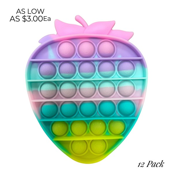 """Multicolor Strawberry Fidget Pop Toy.   - Ages 3+ - As Seen On TikTok - """"It's Like Bubble Wrap That Never Ends!"""" - 12 Pack Same Color"""