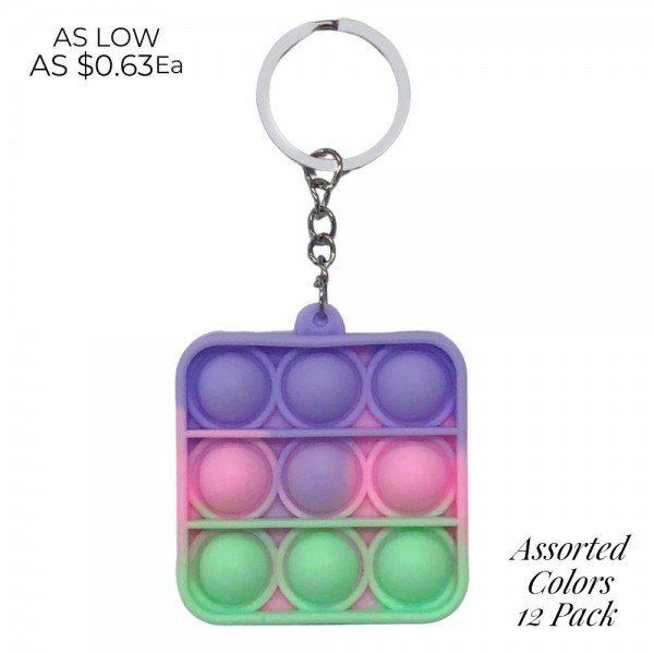 """Multi-Colored Square Shaped Fidget Popper Key Chain  - Ages 3+ - As Seen On TikTok - """"It's Like Bubble Wrap That Never Ends!"""""""