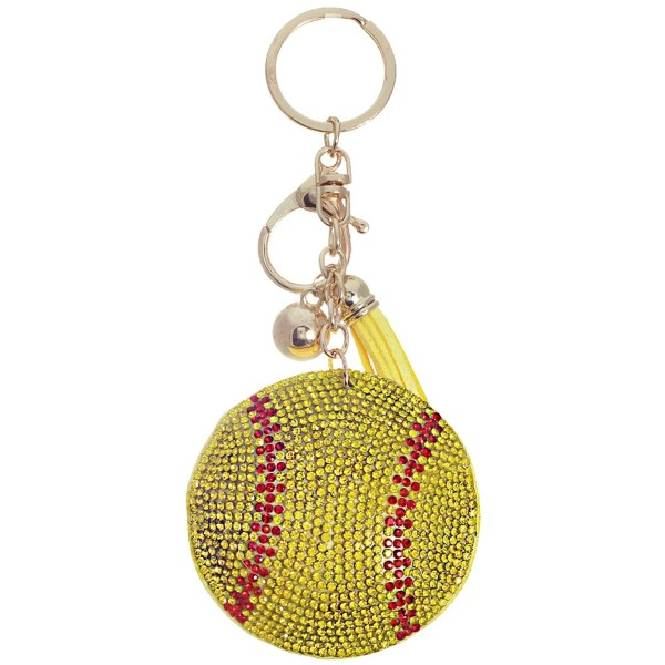 """Keychain with faux suede tassel and rhinestone softball. Approximately 2.5"""" in diameter."""