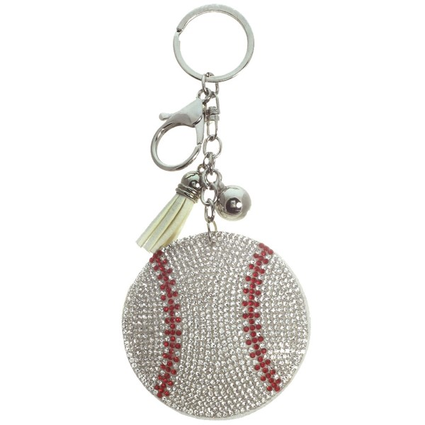 "Keychain with faux suede tassel and rhinestone baseball. Approximately 2.5"" in diameter."