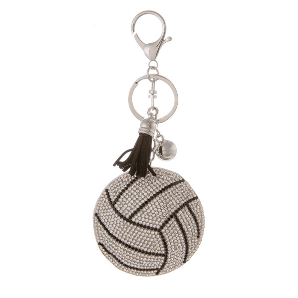 "Keychain with faux suede tassel and rhinestone volleyball. Approximately 2.5"" in diameter."