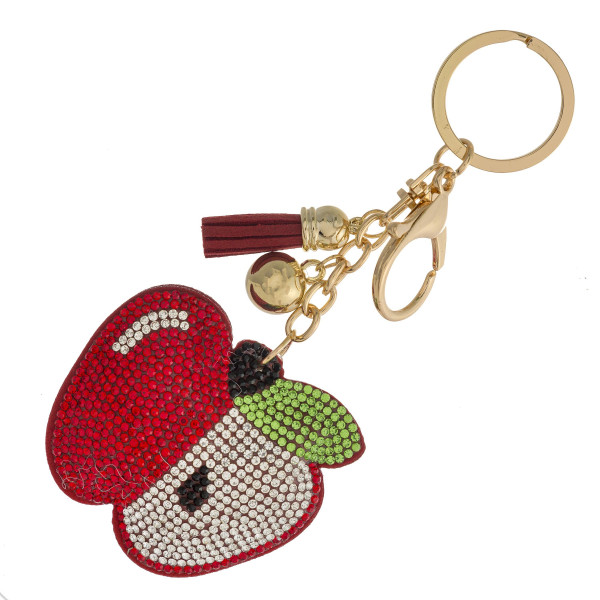 Wholesale apple keychain holder rhinestone details tassel accent Apple diameter