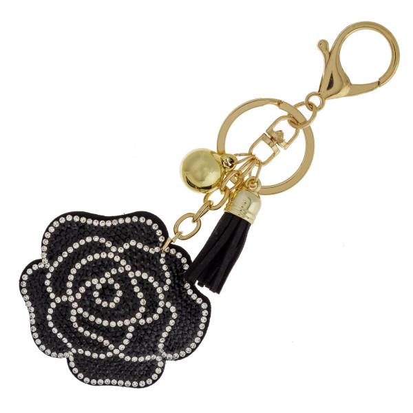 Wholesale flower keychain faux suede tassel rhinestone softball diameter