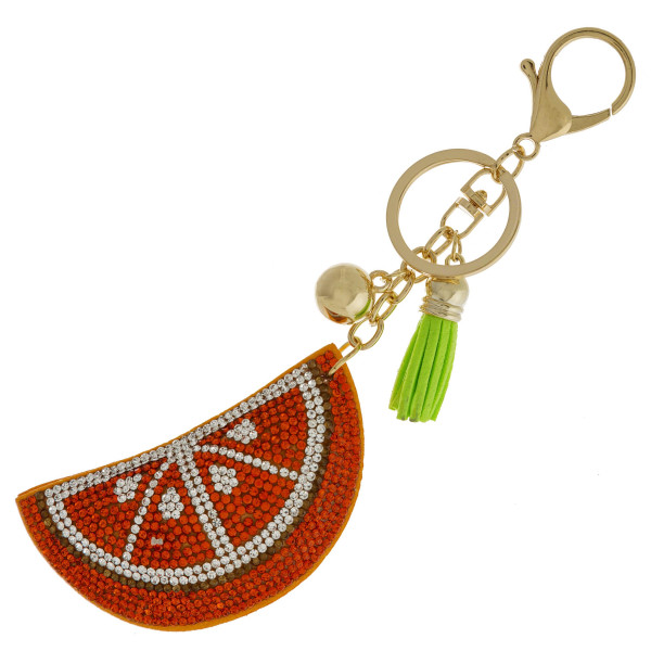 Wholesale orange keychain faux suede tassel rhinestone softball diameter