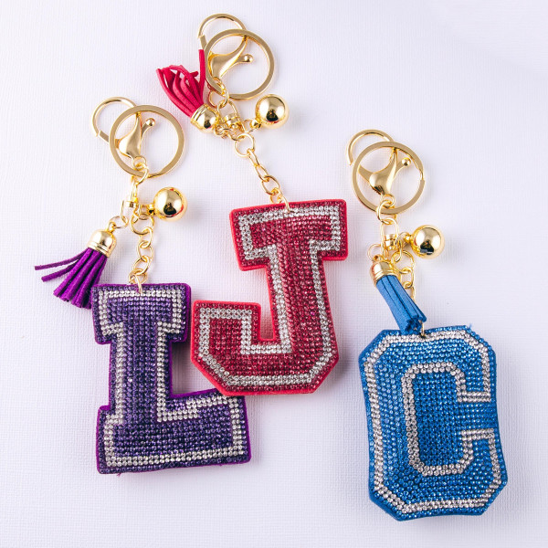 """Light Blue """"C"""" initial pillow keychain/bag charm featuring rhinestone details and a tassel accent. Initial approximately 2.5"""". Approximately 6"""" in length overall."""