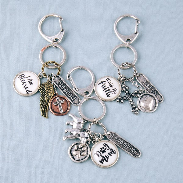 """Antique silver """"Dog Mom"""" dome charm keychain holder.  - Approximately 4"""" in length"""