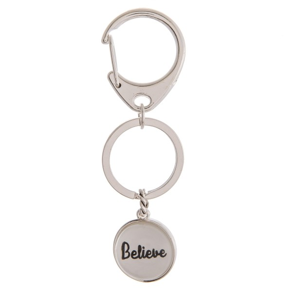 """""""Believe"""" dome charm keychain holder.  - Approximately 3"""" in length and .75"""" in diameter"""
