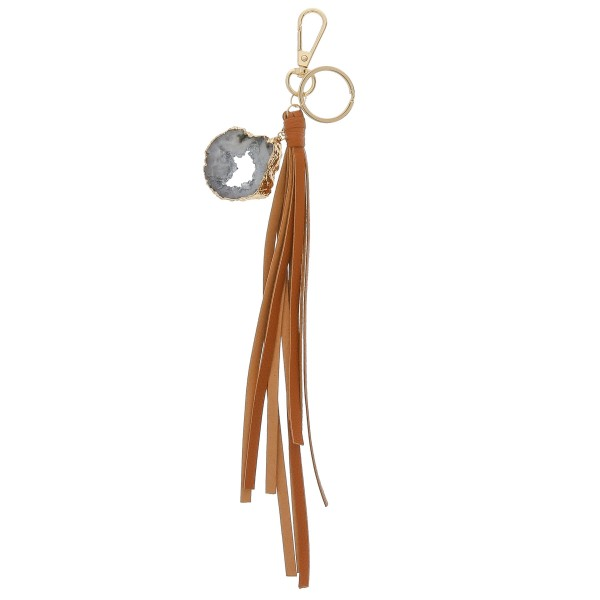 Wholesale large druzy faux leather tassel keychain holder Druzy varies