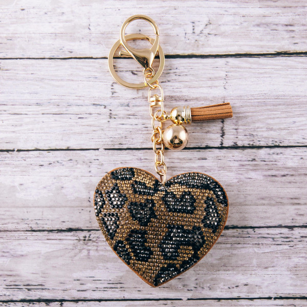 "Rhinestone studded animal print plush heart keychain. Approximately 5.5"" in length."