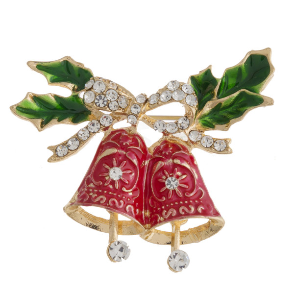 "Enamel coated rhinestone Christmas bells Holiday brooch pin. Approximately 1.5"" in length."