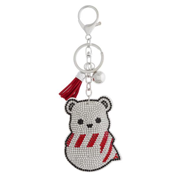 "Rhinestone studded Christmas character plush keychain. Approximately 6"" in length."
