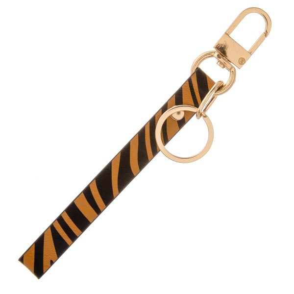 """Faux leather zebra print keychain holder wristlet.  - Approximately 7"""" in length"""