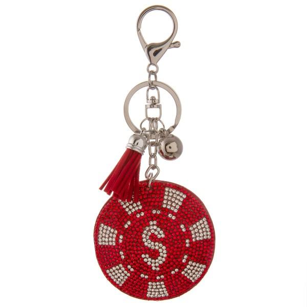 "Rhinestone plush poker chip tassel keychain.  - Approximately 5.5"" L - 2.25"" in diameter"