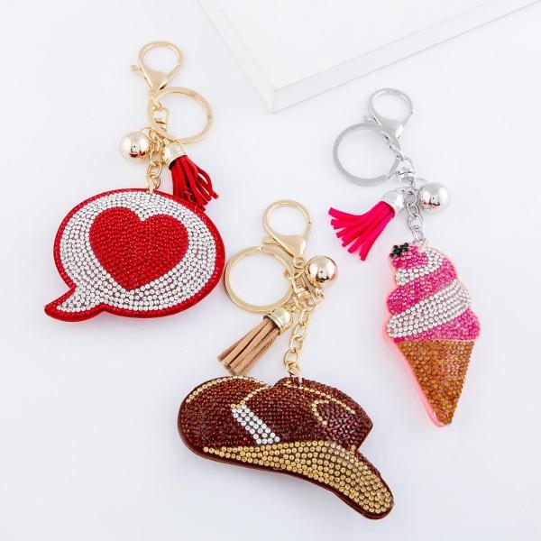 "Rhinestone Plush Heart Chat Bubble Tassel Keychain Holder.  - Approximately 6"" L"
