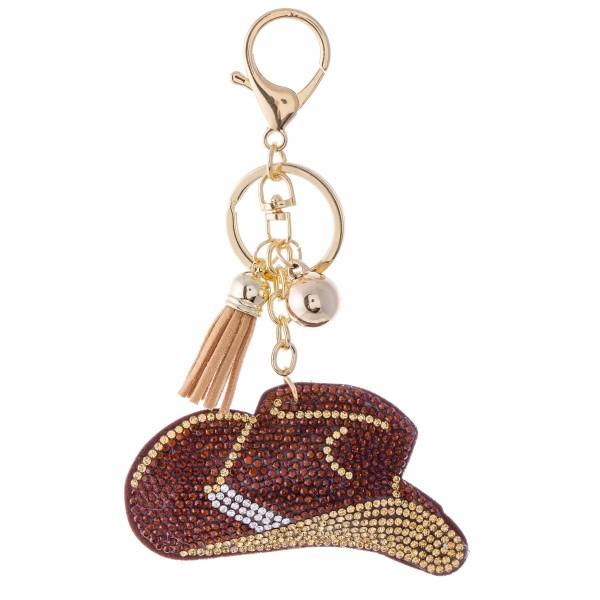 """Rhinestone Plush Cowboy Hat Tassel Keychain Holder.  - Approximately 6"""" L"""