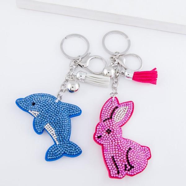 """Rhinestone Plush Pink Bunny Tassel Keychain Holder.  - Approximately 6"""" L"""