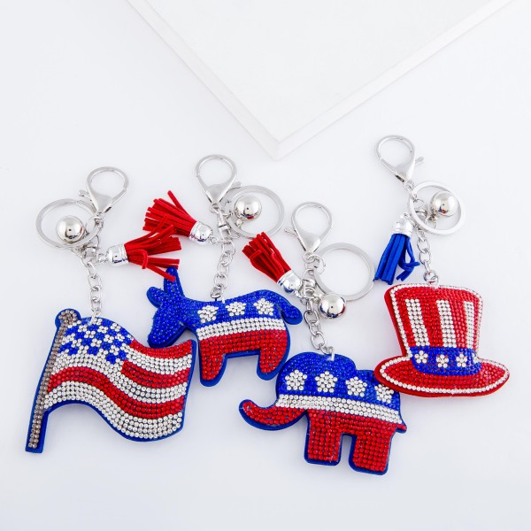 "Rhinestone plush Uncle Sam hat tassel keychain holder.  - Approximately 6"" L overall"