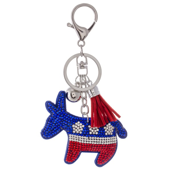 "Rhinestone plush donkey tassel keychain holder.  - Approximately 6"" L overall"