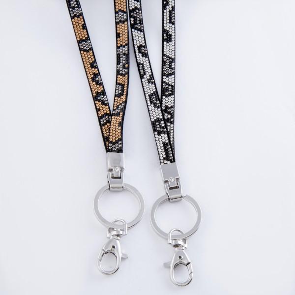 "Rhinestone leopard print lanyard keychain holder.  - Approximately 34"" L"