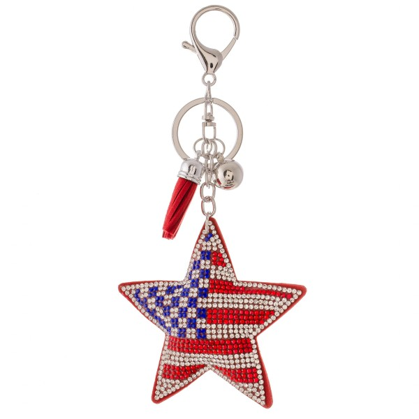 "Rhinestone plush USA start tassel keychain holder.  - Approximately 6"" L overall - Star 3"""