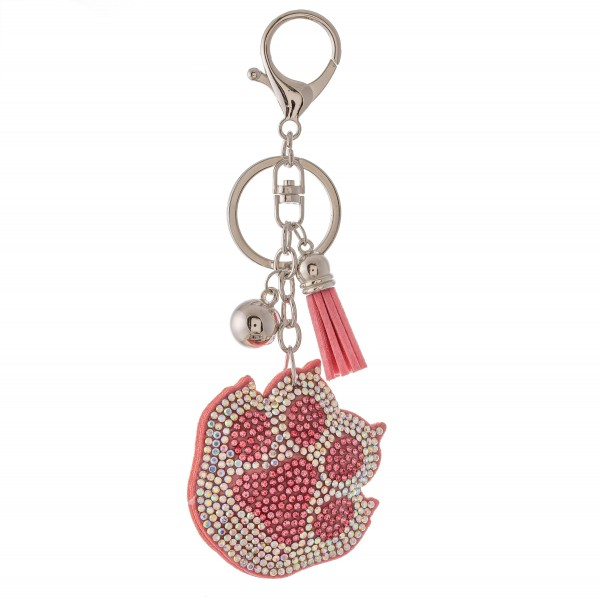 """Rhinestone plush paw print tassel keychain holder.  - Approximately 6"""" L overall - Claw 2"""" in diameter"""