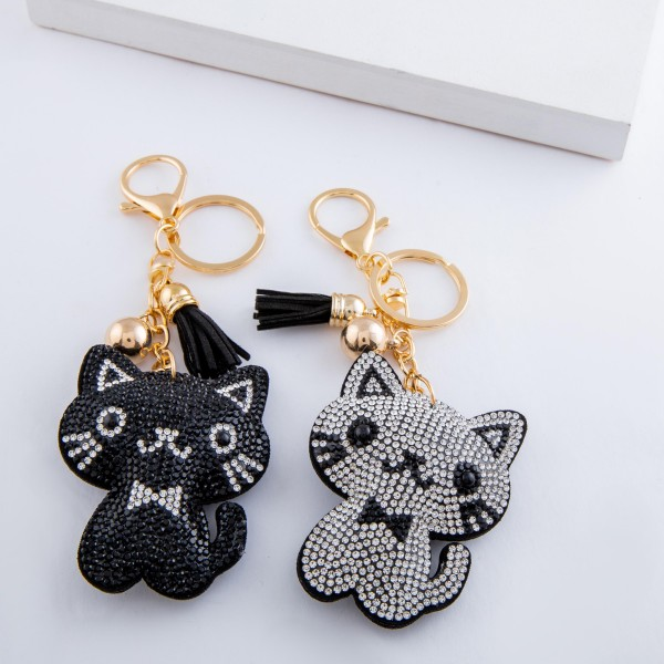 "Rhinestone plush bow tie cat tassel keychain holder.  - Approximately 6"" L overall - Cat 2.5"""