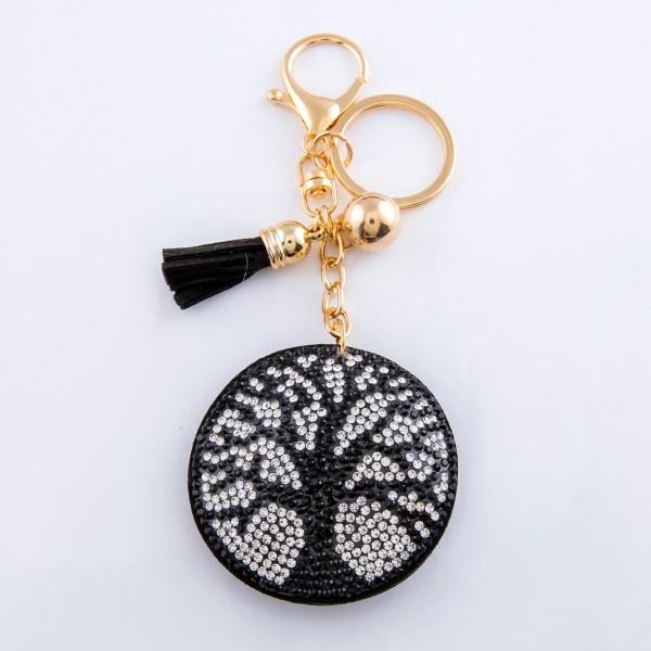 "Rhinestone plush Tree of Life tassel keychain holder.  - Approximately 6"" L overall - Tree of Life 2"" in diameter"
