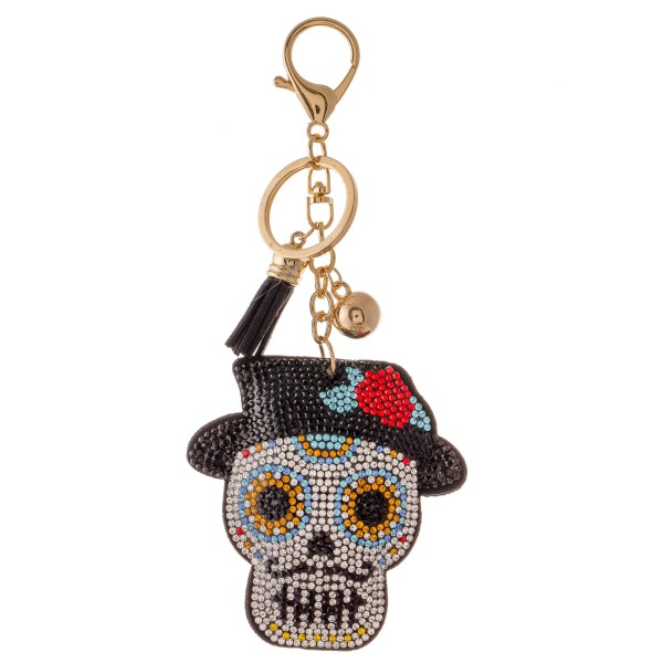 "Rhinestone plush sugar skull tassel keychain holder.  - Approximately 6"" L overall - Skull 3"""