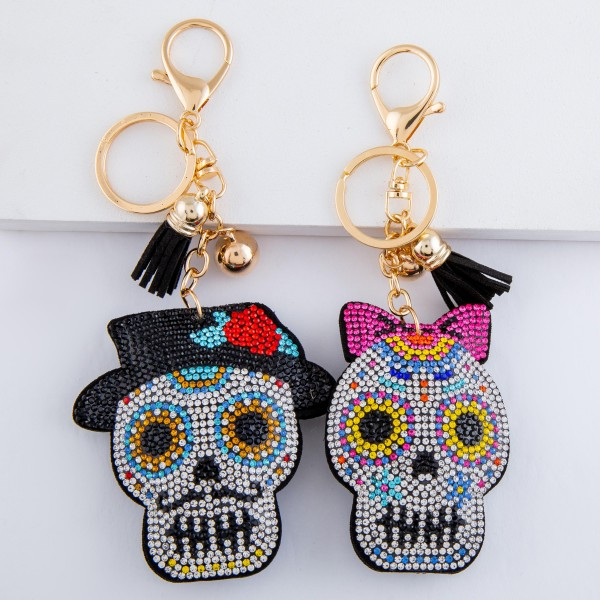 "Rhinestone plush candy sugar skull tassel keychain holder.  - Approximately 6"" L overall - Skull 3"""