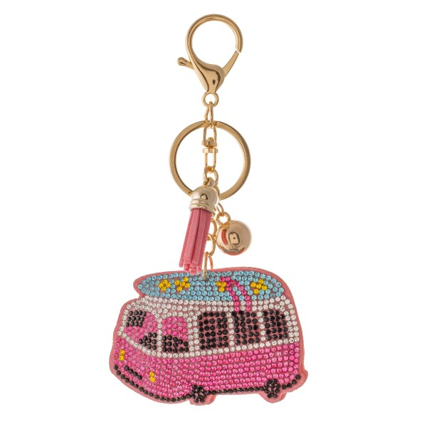 "Rhinestone plush happy camper tassel keychain holder.  - Approximately 6"" L overall - Camper 3"""