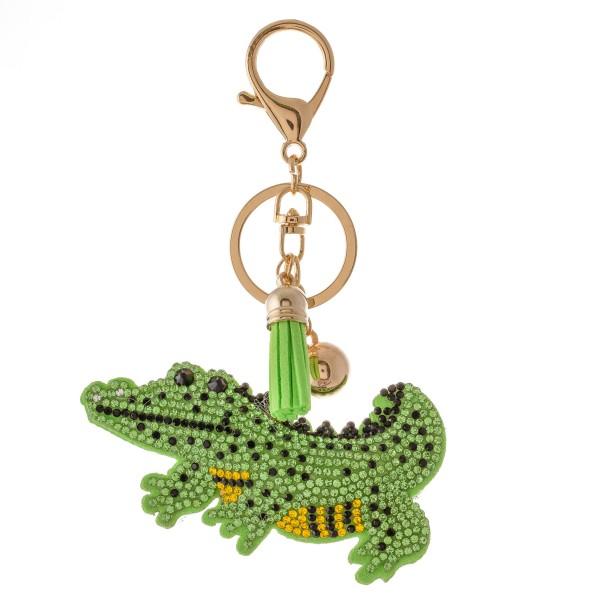 "Rhinestone plush alligator tassel keychain holder.  - Approximately 6"" L overall - Alligator 3.5"""