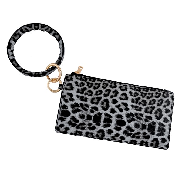 "Faux leather Grey leopard print keyring wallet wristlet.  - Open lined inside - No pockets - Zipper closure - Detachable - Ring 4"" in diameter - Wallet approximately 8"" L x 4"" T - 100% PU"
