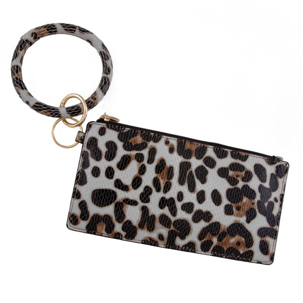 "Faux leather leopard print keyring wallet wristlet.  - Open lined inside - No pockets - Zipper closure - Detachable - Ring 4"" in diameter - Wallet approximately 8"" L x 4"" T - 100% PU"