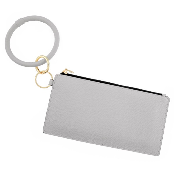 """Faux leather keyring wallet wristlet.  - Open lined inside - No pockets - Zipper closure - Detachable - Ring 4"""" in diameter - Wallet approximately 8"""" L x 4"""" T - 100% PU"""