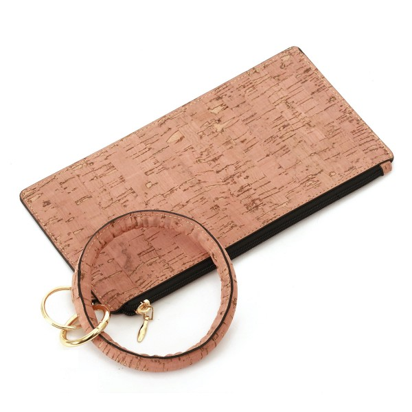 """Faux Cork Metallic Key Ring Wallet Wristlet.  - Zipper Closure - Detachable 3"""" Key Ring - Holds: Bills / Coins / Cards / ID - Approximately 8"""" x 4"""""""