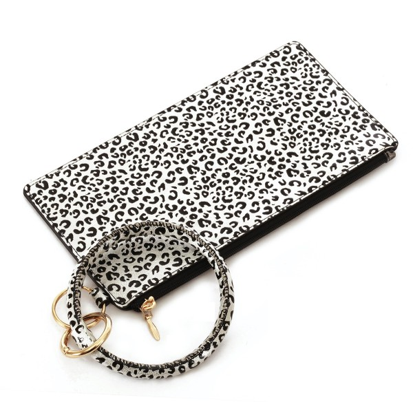"""Faux Leather Leopard Print Key Ring Wallet Wristlet.  - Zipper Closure - Detachable 3"""" Key Ring - Holds: Bills / Coins / Cards / ID - Approximately 8"""" x 4"""""""
