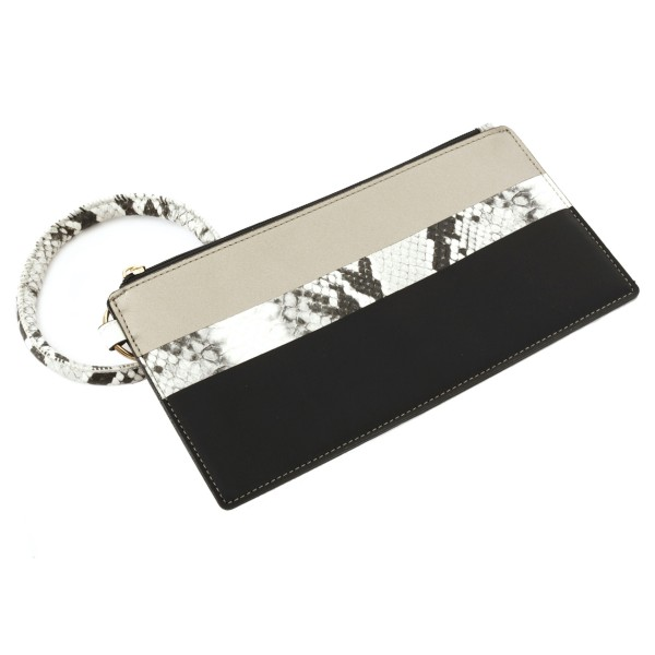 """Faux Leather Snakeskin Key Ring Wallet Wristlet.  - Zipper Closure - Detachable 3"""" Key Ring - Holds: Bills / Coins / Cards / ID - Approximately 8"""" x 4"""""""