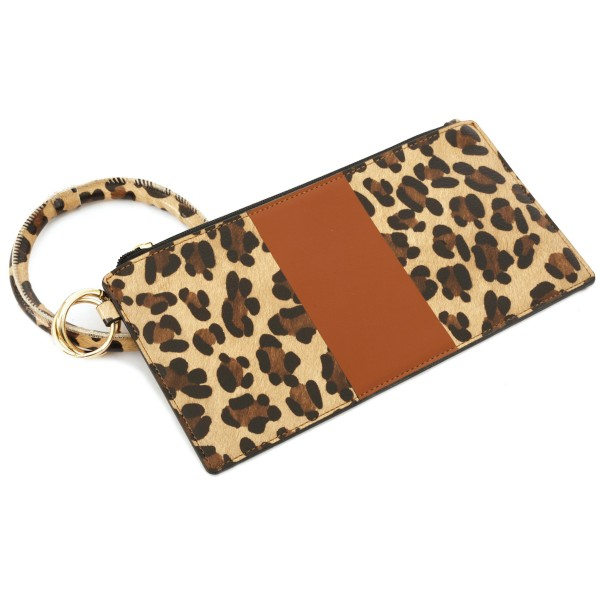 """Faux Leather Leopard Print Stripe Key Ring Wallet Wristlet.  - Zipper Closure - Detachable 3"""" Key Ring - Holds: Bills / Coins / Cards / ID - Approximately 8"""" x 4"""""""