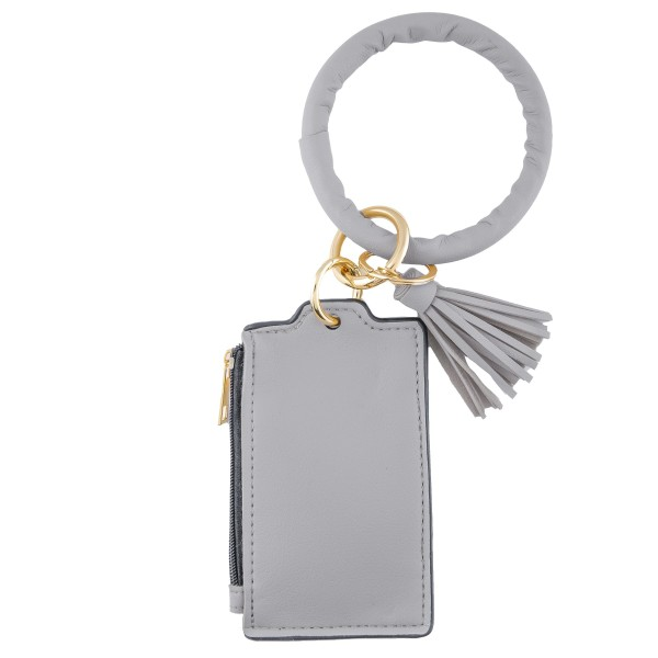 """Faux Leather Tassel Key Ring IC/Card Bangle Keychain Wristlet.  - Zipper Closure - Open Pouch for Coins - 2 Functional Card Pockets - Key Ring 4"""" in diameter - Approximately 5"""" T x 3"""" W"""