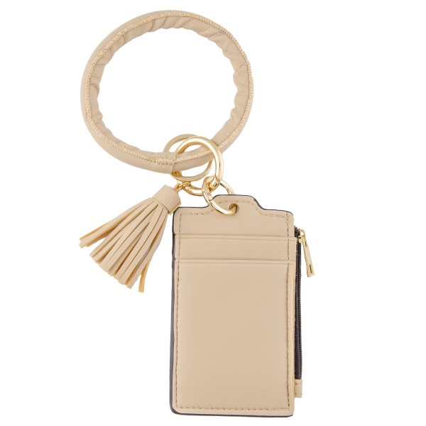 """Slim Minimalist Faux Leather Card and Coin KeyRing Holder with Tassel.  - Zipper Closure - Open Pouch for Coins - 2 Functional Card Pockets - KeyRing 4"""" in diameter - Approximately 5"""" T x 3"""" W - 100% Polyester"""