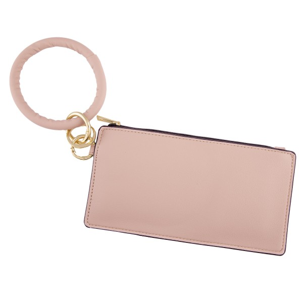 """Slim Minimalist Faux Leather KeyRing Wallet.  - Zipper Closure - Open Pouch for Coins, Cards, Bills - KeyRing 4"""" in diameter - Approximately 8"""" T x 4"""" W - 100% Polyester"""
